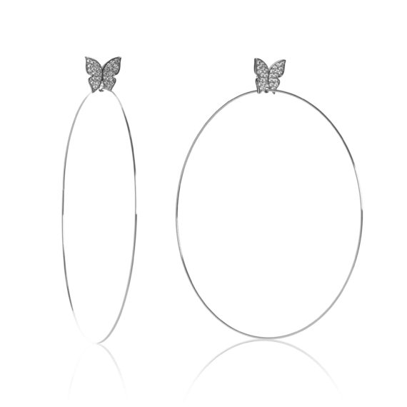 "Large White Gold Hoops 570x570 - Evelyn Signature 4"" White Gold Hoop Earrings"