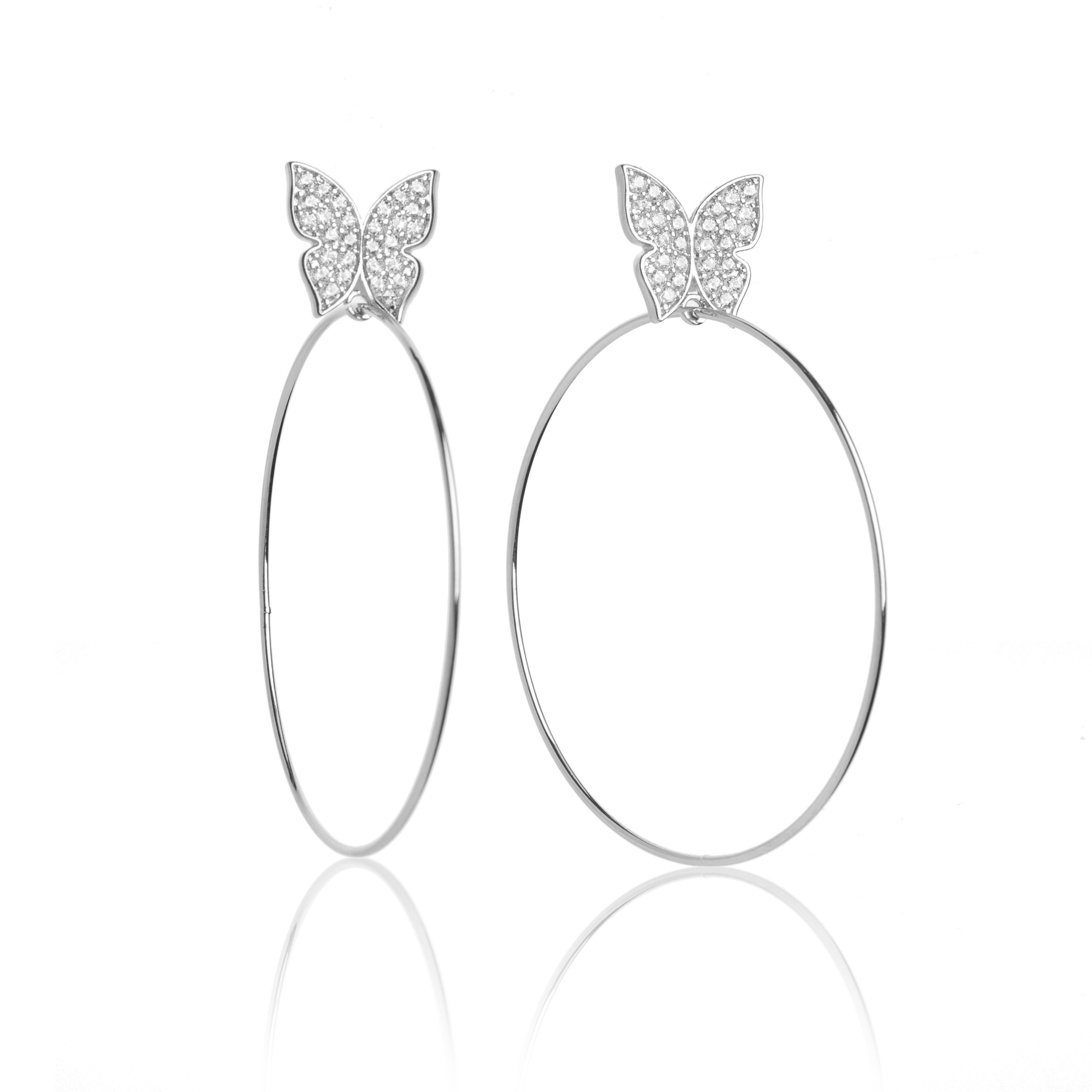 Evelyn Signature 2 White Gold Hoop Earrings