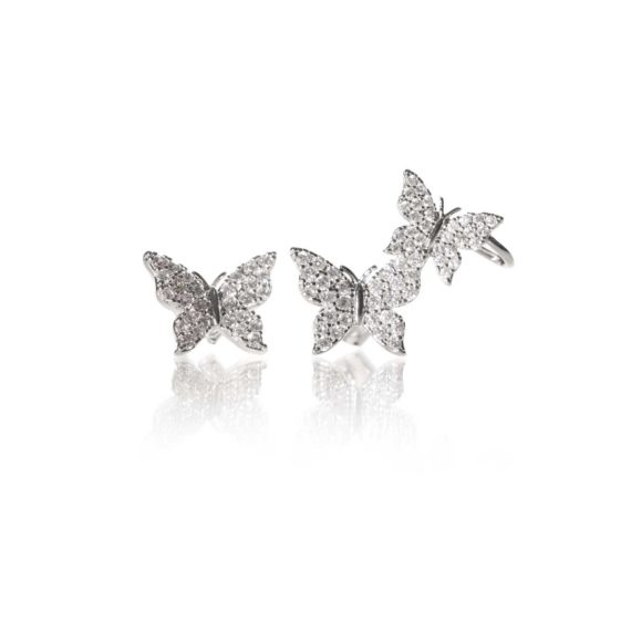 JE 1810001 1 570x570 - BX GLOW Signature Butterfly Studs White Gold Studs Earrings with Asymmetrical Cuff