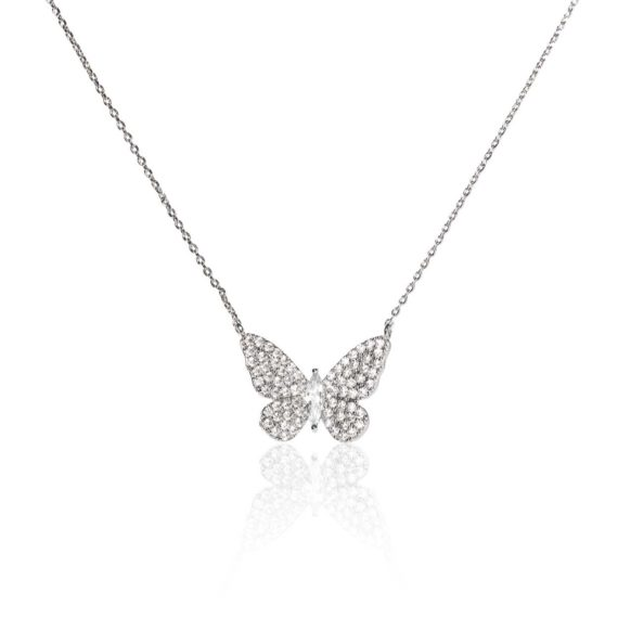 JE 1810009 1 570x570 - BX GLOW Signature Butterfly Necklace White Gold Necklace