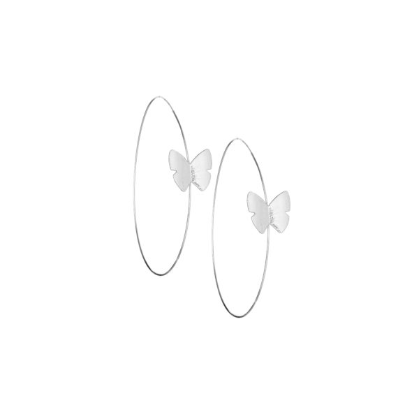 """Continuous Butterfly Hoop Earring 2 in White Gold 570x570 - Continuous Butterfly Hoop 2"""" Earrings"""