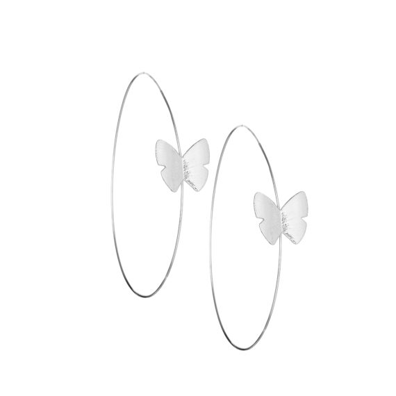 """Continuous Butterfly Hoop Earring 4 in White Gold 570x570 - Continuous Butterfly Hoop 4"""" Earrings"""