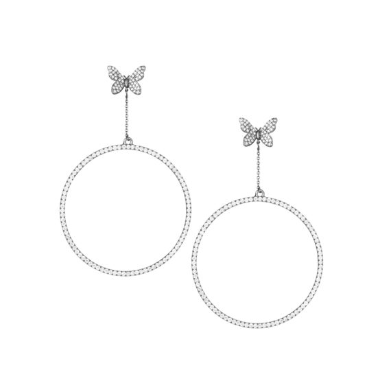 """Signature Pave Drop Earrings 3.5 in White Gold 570x571 - Signature Pave Drop Earrings 3.5"""" Earrings"""